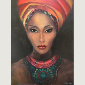African woman with turban, painted by Melika Monjazi