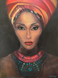 African woman on canvas, painted by Melika Monjazi