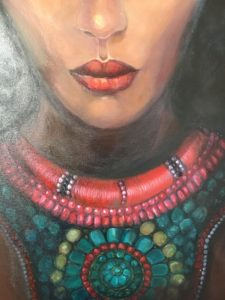 Details of African woman with Turban painting