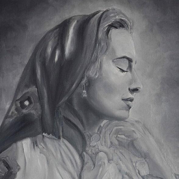 Portrait painting of Silvia Floarea Toth by Melika Monjazi