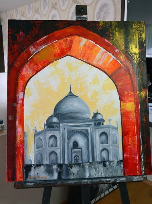 Taj Mahal painting by Melika Monjazi