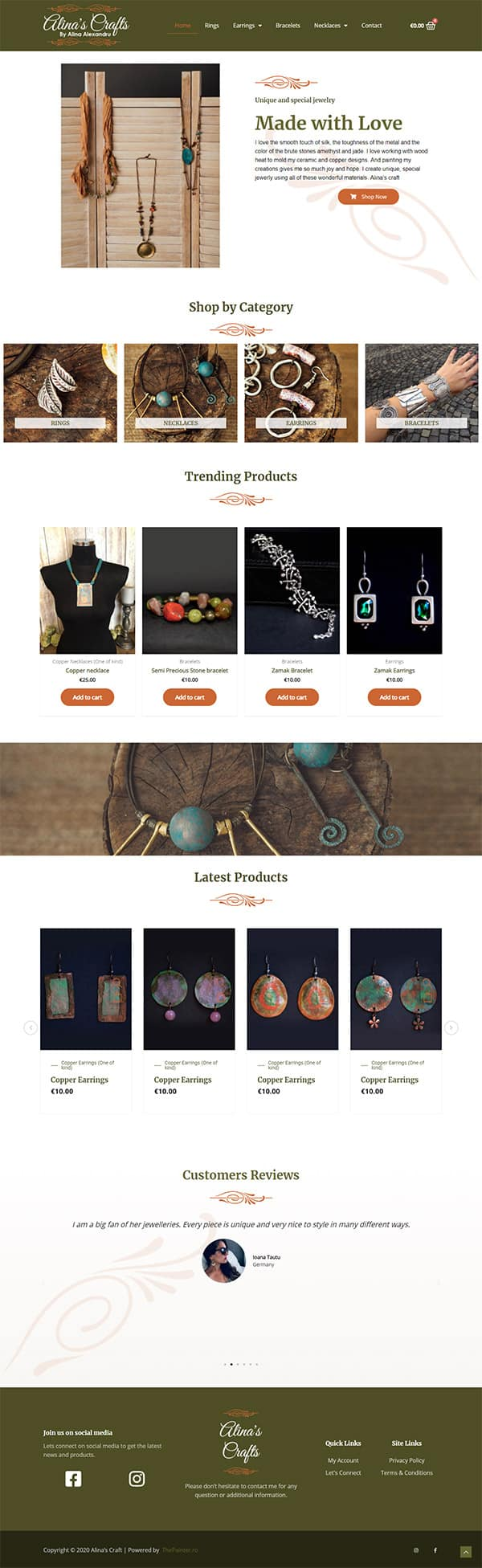 Alina's Craft website